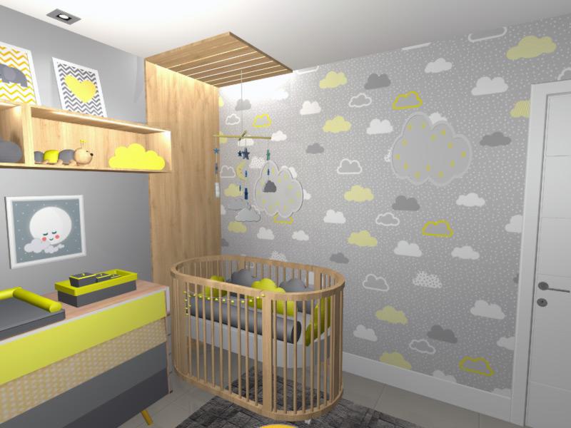 Fabuloso quarto-bebe-nuvem-cinza-amarelo-menino-menina-unisex-projeto  WU71