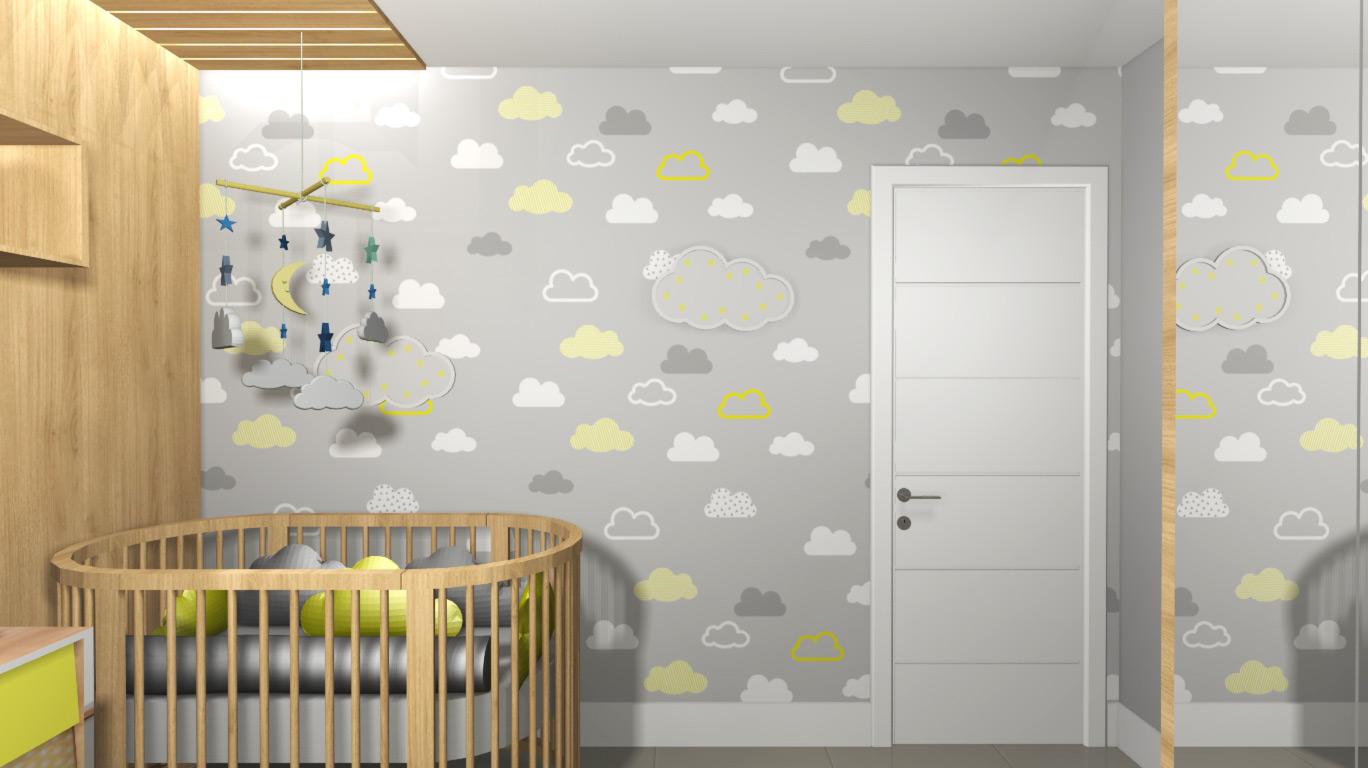 Quarto De Beb Cinza E Amarelo Para Menino E Menina Fazzio  ~ Decoração De Quarto De Menina Bebê