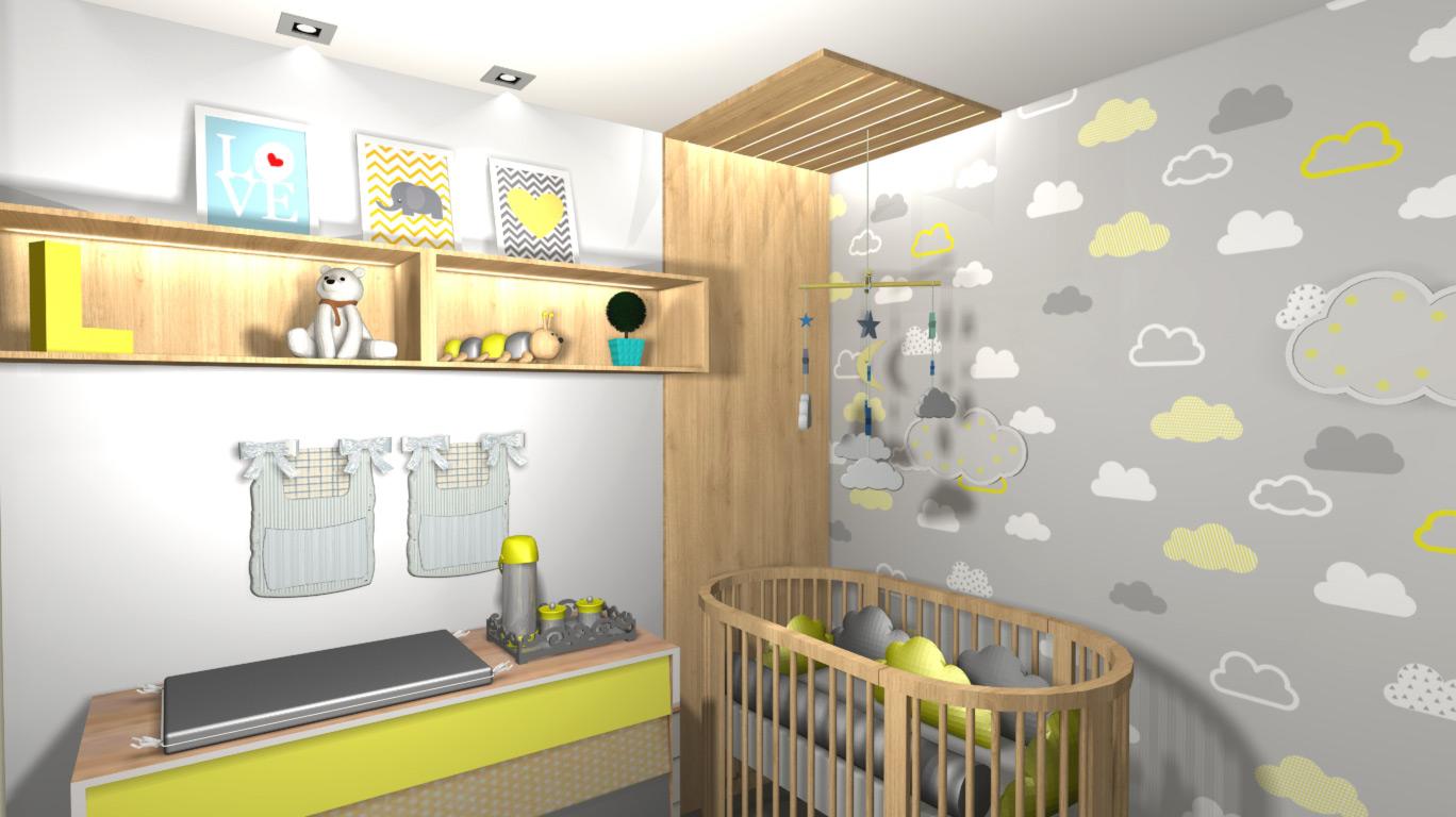 Super Quarto de bebê cinza e amarelo para menino e menina – Fazzio  VV04